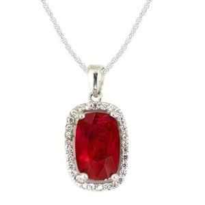 6.5 Carats red ruby with diamond ladies necklace p